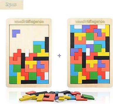 Herefun Puzzle Tetris de Madera, Tangram Jigsaw Rompecabezas Madera Juego Educativo, Puzzle Tangram Juguetes Juego de Cerebro Bloque de Construcción Inteligencia Regalo Educativo para Niños: Amazon.es: Juguetes y juegos