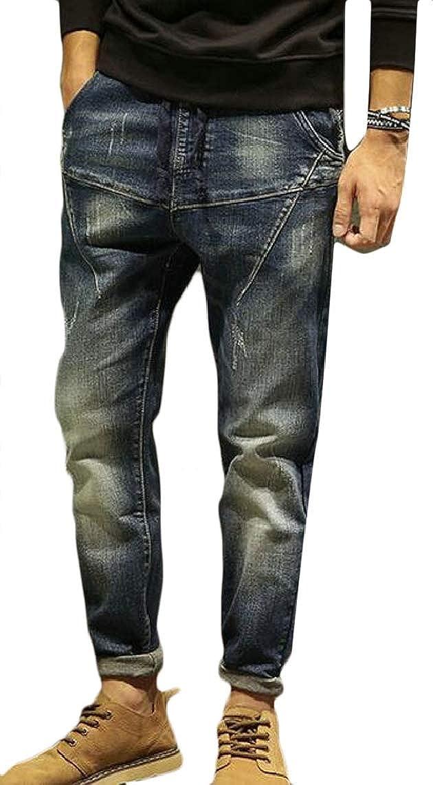 Yayu Mens Comfy Soft Drawstring Waist Regular Fit Denim Jeans Pants