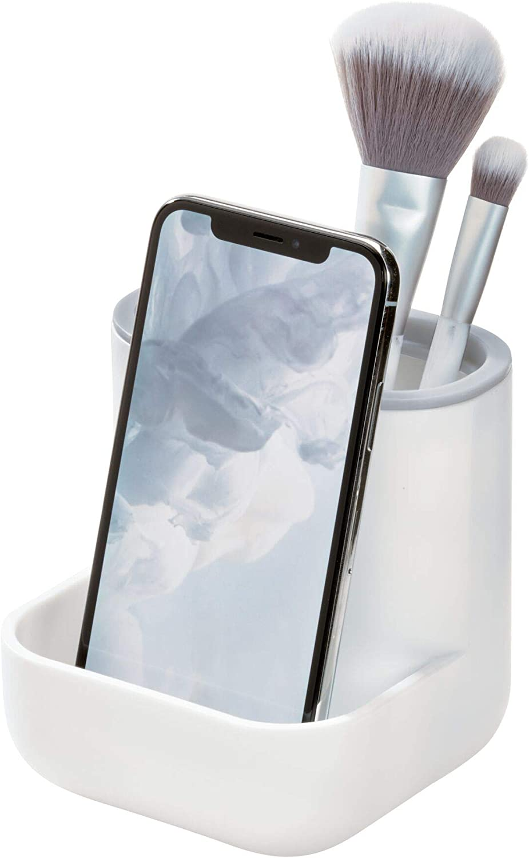 iDesign Cade Center for Bathroom Countertops, Desks, Vanities-White and Gray