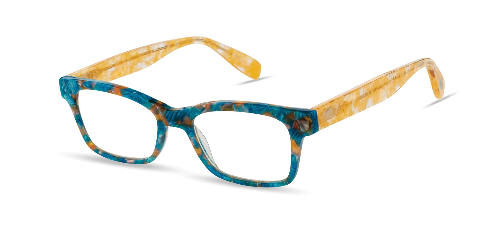 Merriam Avenue - Rectangular Trendy Fashion Reading Glasses for Men and Women - Honolulu Blue Pearl (+2.00 Magnification Power)