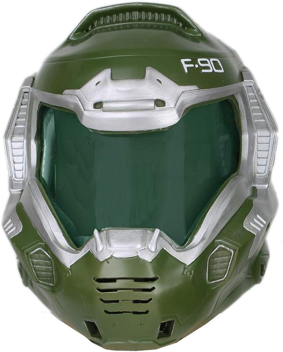 xcoser Doomguy Helmet Deluxe Green Mask Visor Halloween Cosplay Costume Prop Adult 61ybCEg2BIPLUL1154_
