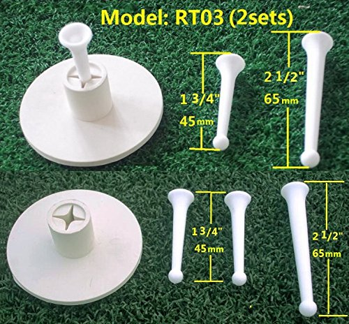 2sets RT03 A99 Golf Rubber Tee Holder with 3pcs Tees 2 1/2