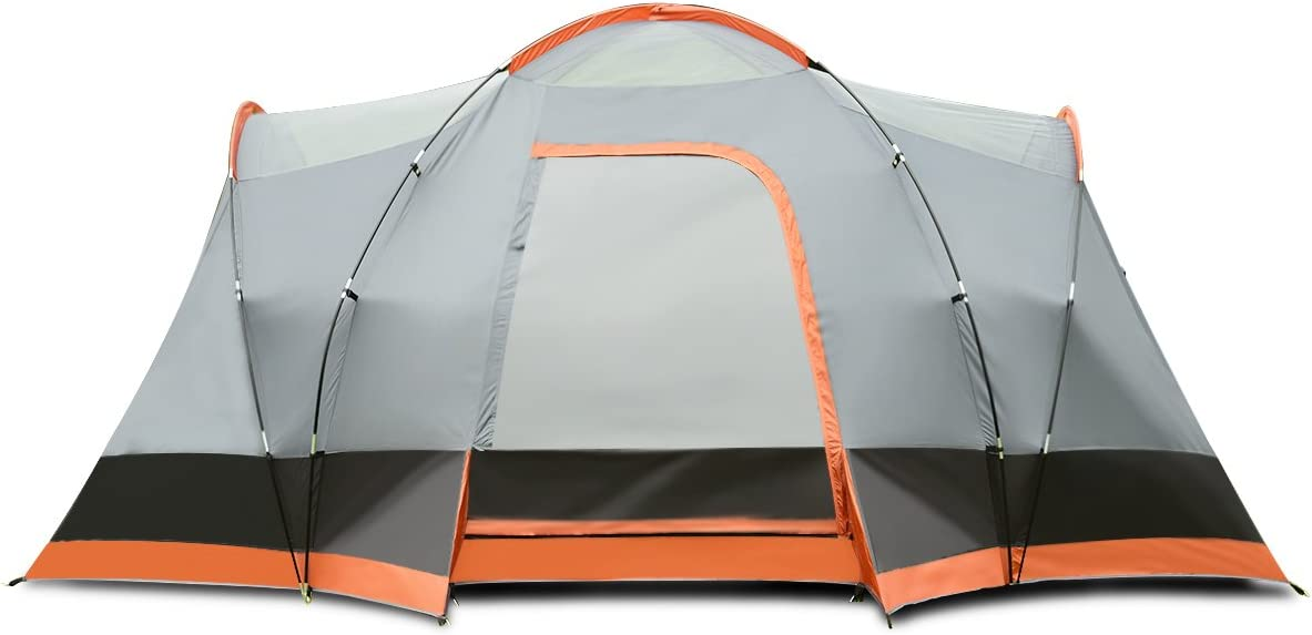 Tangkula 6-8 Person Outdoor Tent Extended Dome Two Doors and Two Windows 2-Layer Family Picnic Camping Lightweight Carry Bag