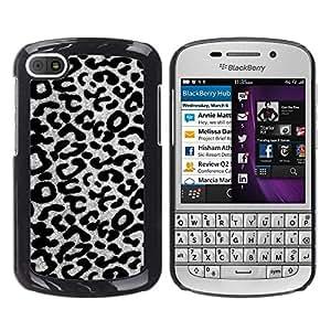 Patrón Negro Blanco Gris del guepardo del leopardo- Metal de aluminio y de plástico duro Caja del teléfono - Negro - BlackBerry Q10