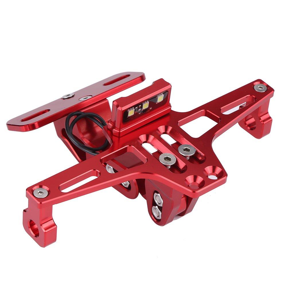 Qiilu Support Réglable Licence Cadre de Plaque d'immatriculation en Alliage d'aluminium pour moto(Rouge)