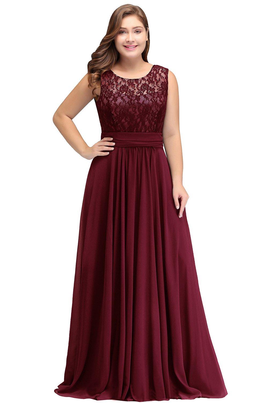 Babyonlinedress Womens Sleeveless A line Long Burgundy Bridesmaid  Dresses,Plus Size 16W