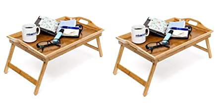 Bandeja de bambú plegable Relaxdays, 25 x 52 x 33 cm aprox., para ...