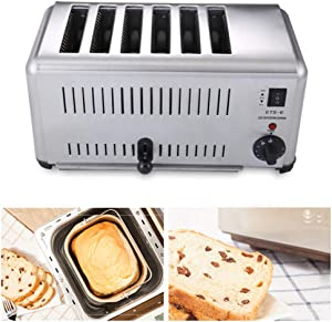 NEWTRY Commercial Toaster 6 Slice Toaster Heating Machine Stainless Steel Adjustable for Hotel Family Breakfast (110V US Plug)