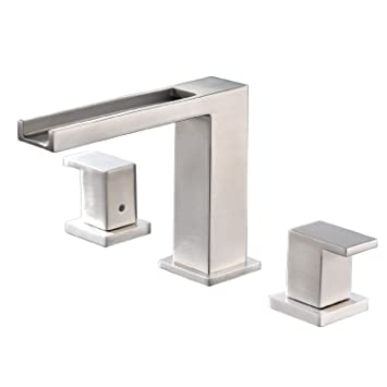 Waterfall Stainless Steel Two Handle Three Hole Widespread Bathroom