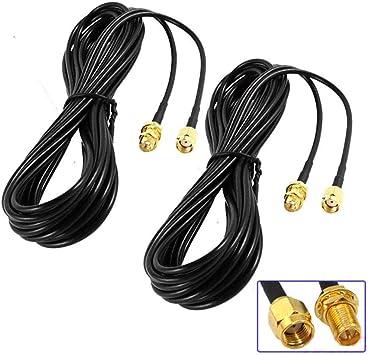Nuluxi Cable Alargador de Antena Cable Coaxial de Extensión SMA de Antena Pigtail Antena WiFi Cable de Extensión SMA Macho a SMA Hembra Adaptador ...