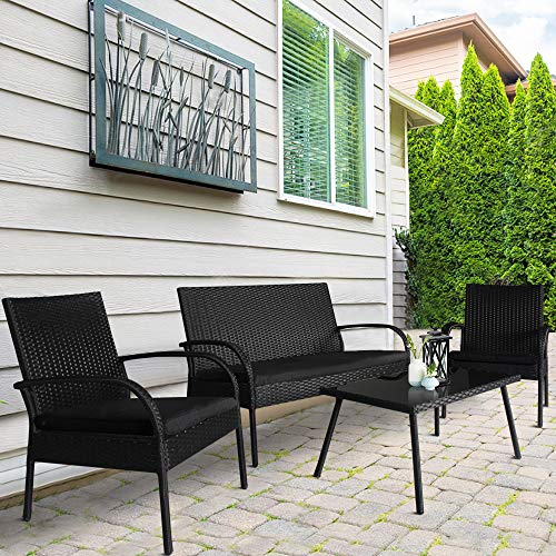 (Homevibes 4 Pieces Outdoor Patio Furniture Sets Garden Conversation Set Backyard Rattan Chair Wicker Sofa Set, Black Rattan Black Cushions)