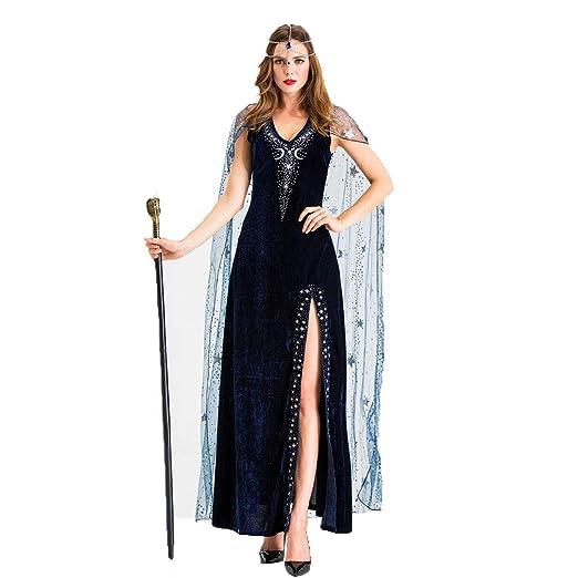 CAGYMJ Dress Party Mujer Vestido,Cosplay Negro Bruja Diosa Griega ...