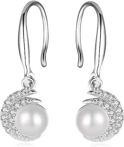 Sterling Silver Freshwater Cultured Pearl CZ Drop /& Dangle Leverback Earrings