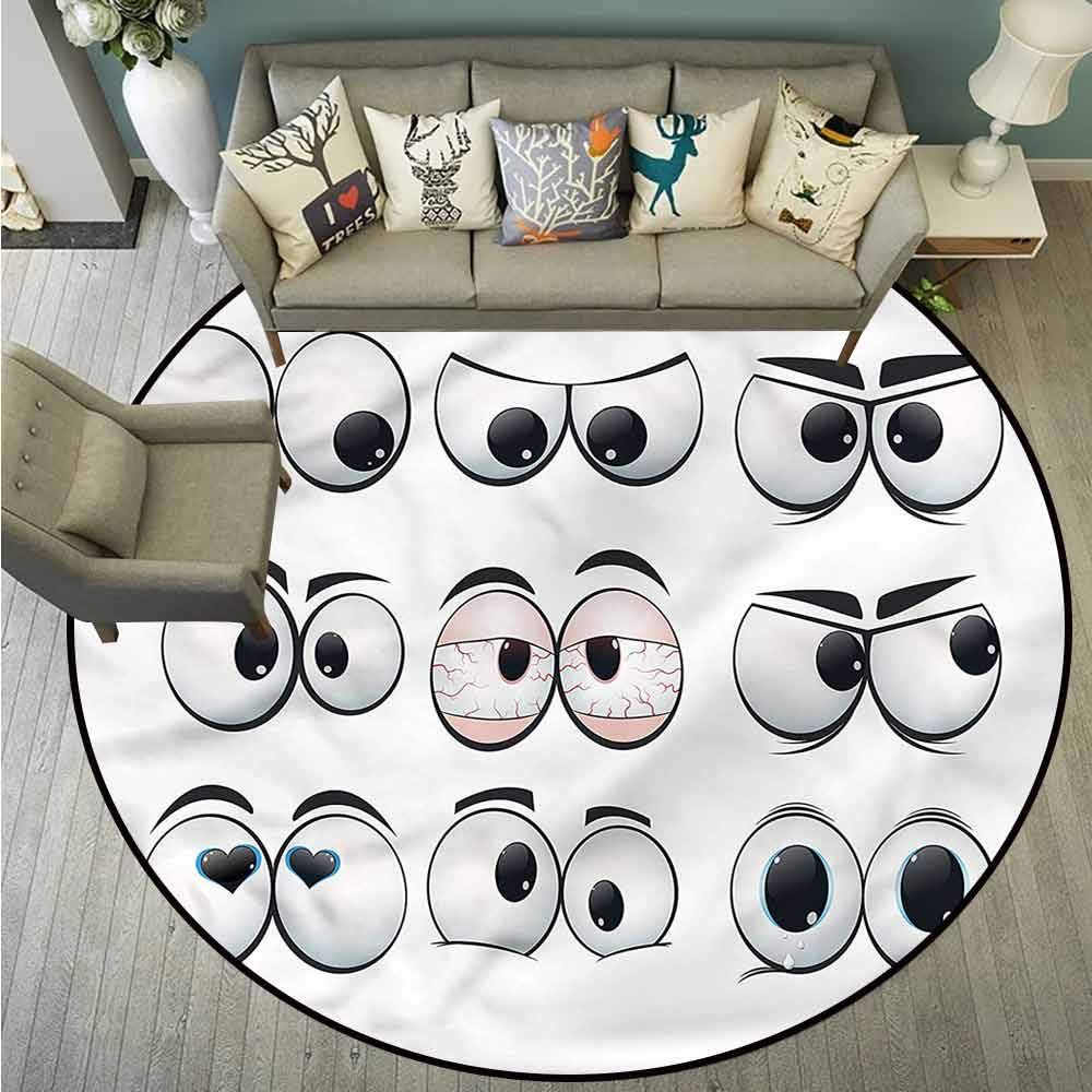 Bedroom Rugs,Eye,Cartoon Expression Set,with No-Slip Backing,3'11''