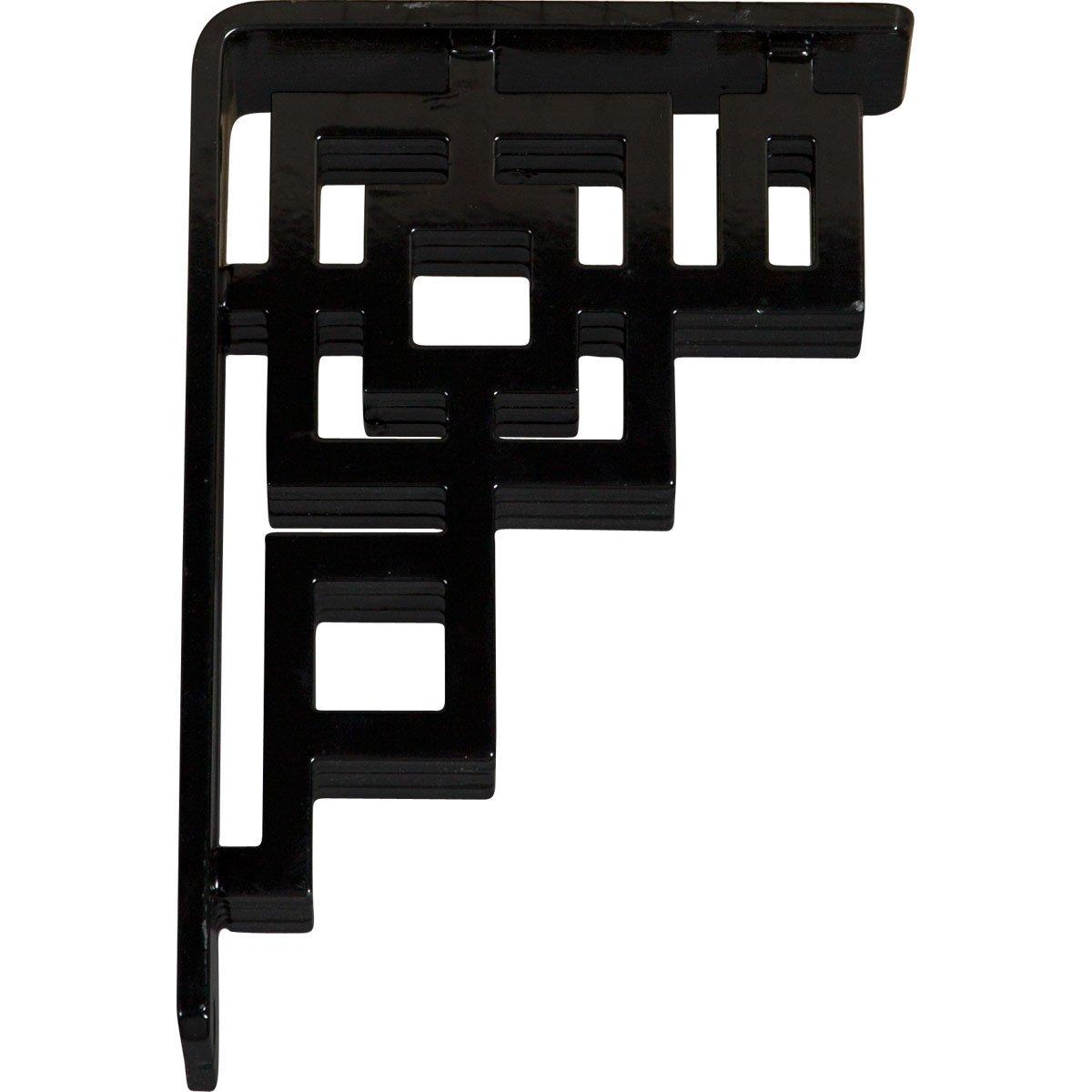2-Pack Ekena Millwork BKTM02X07X10TER-CASE-2 2W x 7 1//2D x 10H Eris Wrought Iron Bracket, Powder Coated Black Triple Center Brace 2 Piece , x x