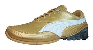 Puma Cell Akila L Womens Leather Running Sneakers / Shoes-Gold-7.5