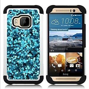 - blue sparkly water bubbles abstract light/ H??brido 3in1 Deluxe Impreso duro Soft Alto Impacto caja de la armadura Defender - SHIMIN CAO - For HTC ONE M9
