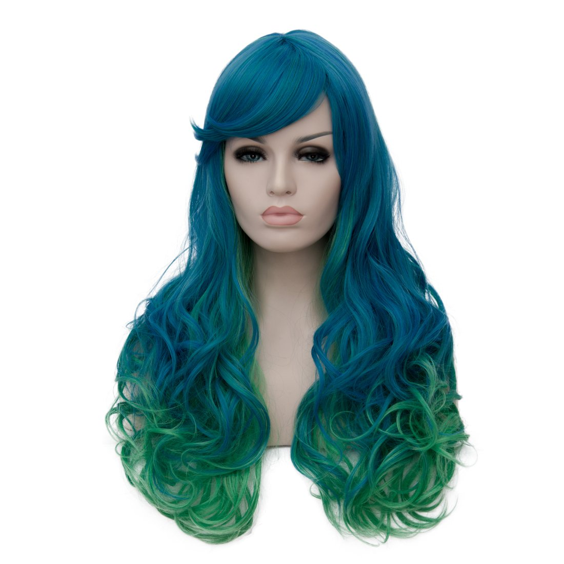 Netgo Women's Blue Ombre Green Wigs With Side Bang Long Wavy Heat Resistant Synthetic Wigs for Costume Party Cosplay