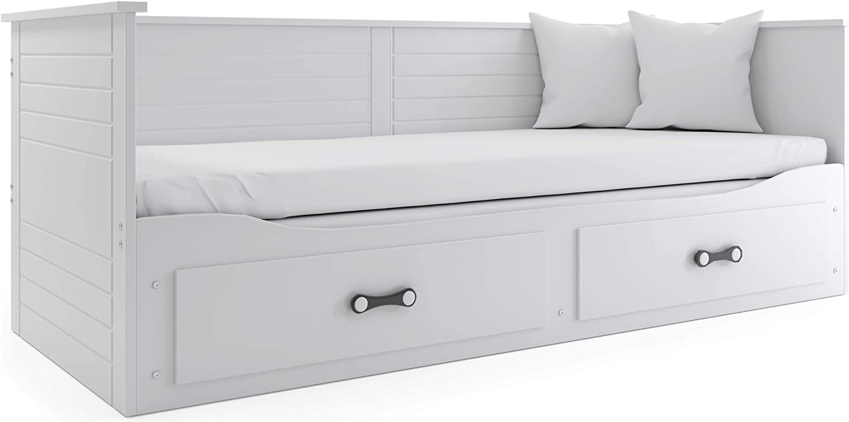 Interbeds Cama Hermes 2 en 1- con Dos cajones, somieres y colchones de Espuma (2X 200x80x10), Color Blanco