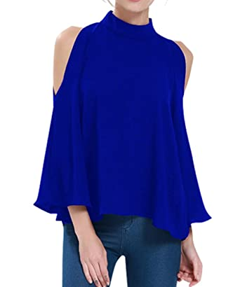 9bdf2f00ce615f K Women's Cold Shoulder Top Bell Sleeve Flowy High Neck Chiffon Blouse, Blue