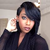 SCENTW Short Cut Bob Synthetic Wigs for Women Heat Resistant Costume African American Wigs with Side Bangs Natural Black…