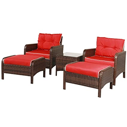 Superbe TANGKULA Wicker Furniture Set 5 Pieces PE Wicker Rattan Outdoor All Weather  Cushioned Sofas And Ottoman