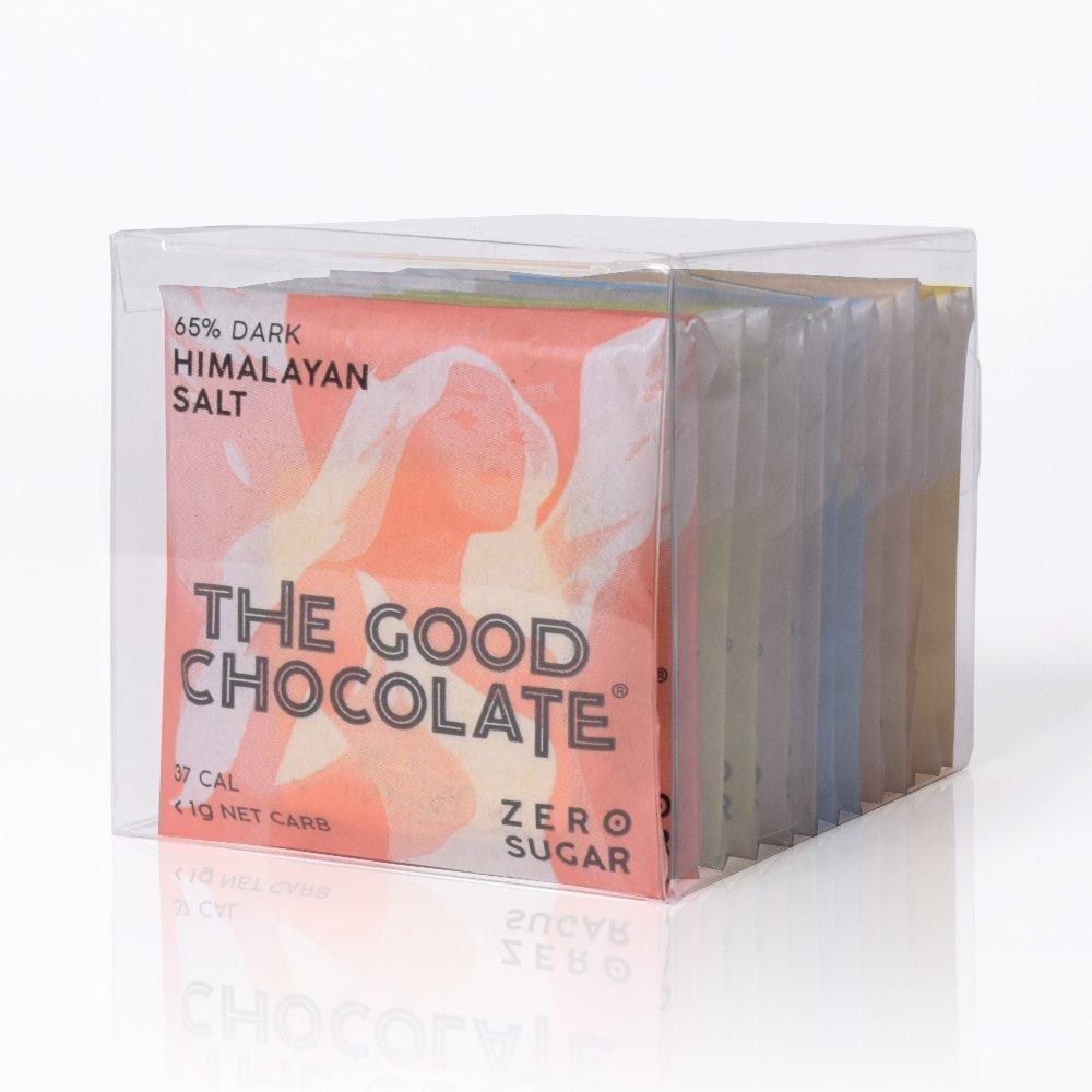The Good Chocolate 12-pack Squares, Zero sugar, Very Low Net Carb / (Dark, Almond, Mint, Ginger, Salt, Milk)