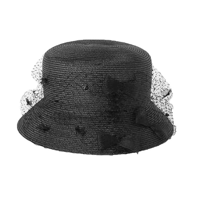 Sombrero De Paja Elegante Sombrero Verano Mujer Sombrero UPF50 + Playa  Sombrero Negro 2d52a4c459ed