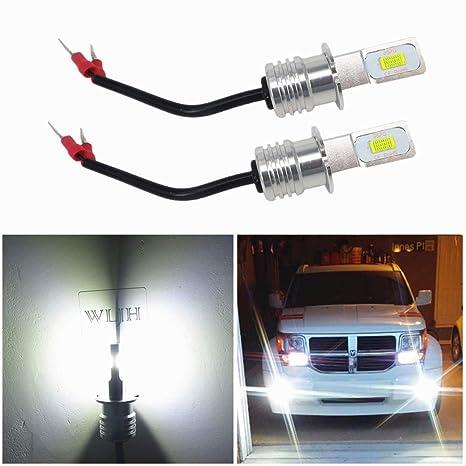 WLJH 2 Pack H3 Bombillas de luz antiniebla de alta potencia 72W Bombillo de auto LED