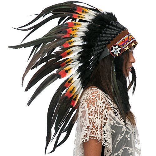 Feather Headdress Costumes (Feather Headdress- Native American Indian Inspired- Handmade Halloween Costume for Men Women with Real Feathers - DOUBLE FEATHER Multicolor)