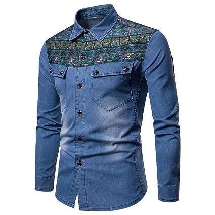 73c343c054d Elogoog Mens coat Men s Denim Slim Fit Jackets Distressed Long Sleeve  Button Casual Work Dress Shirts