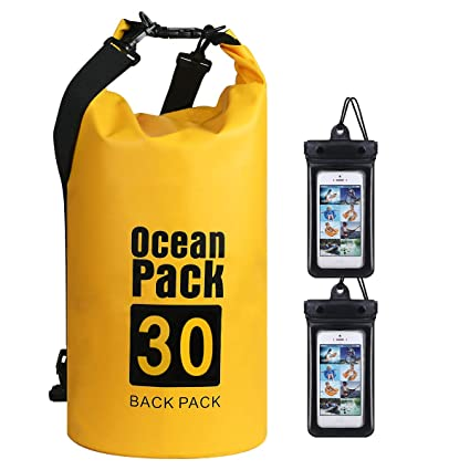 flintronic® Bolsa Impermeable, Bolsa de Hombro Impermeable IP66, para Canoa Kayak Barco Camping Natación Rafting Velo Pesca (Incluye 2 PCS Bolsa ...