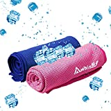"""Ambielly Cooling Towel for Instant Relief,2-Pack(40""""x12"""") Stay Cool Fitness Golf Ice Towels,Ideal for Running Yoga Gym Travel Camping Biking Hiking Working & Outdoor Sports"""