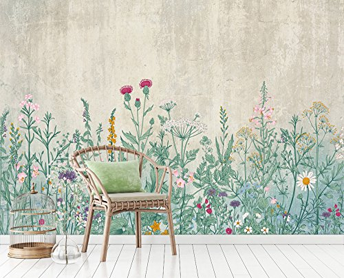 Floral Wall Murals - wall26 Large Wall Mural - Retro Style Flowers and Plants of Various Colors with Vintage Wall Background | Self-adhesive Vinyl Wallpaper/Removable Modern Wall Decor - 100x144 inches