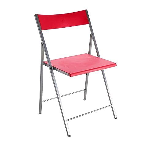 Versa Belfort Silla Plegable, Metal, Rojo, 56,5 x 48 x 93,5 cm