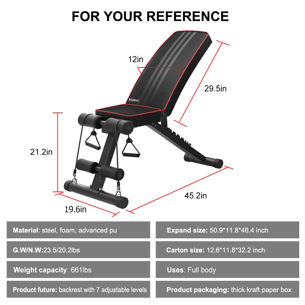 Sit up YOLEO Adjustable Weight Bench Upper Abs Workout Foldable Workout Bench for Home Gym Incline//Decline//perfect for Bench Press Full Body Fitness Leg Lifts