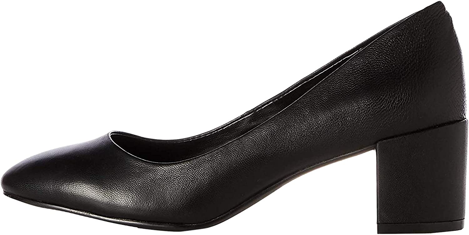 Marca Amazon - find. Round Toe Block Heel Leather Court - Zapatos de Tacón Mujer