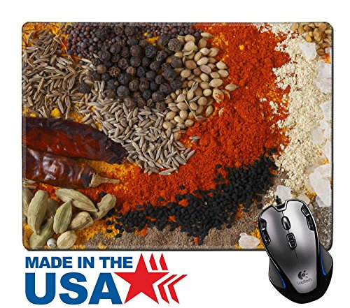 "MSD Natural Rubber Mouse Pad/Mat with Stitched Edges 9.8"" x 7.9"" Asian curry spices in the centre black pepper coriander seeds mustard cumin around that dried chillies Kashmiri chilli powder caraway s"