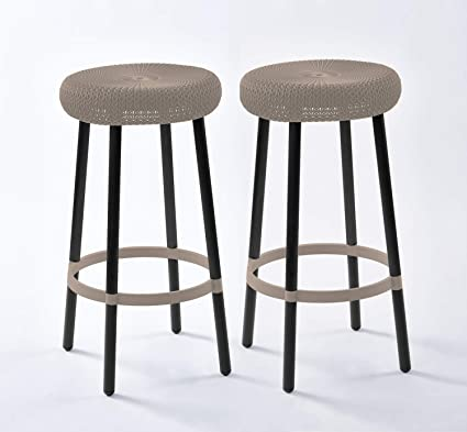 Super Keter Cozy Knit Outdoor Counter Height Bar Stools Set Of 2 Beige Caraccident5 Cool Chair Designs And Ideas Caraccident5Info
