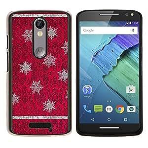 EJOOY---Cubierta de la caja de protección para la piel dura ** Motorola Moto X3 3rd Generation ** --Rojo púrpura del papel pintado de la vendimia