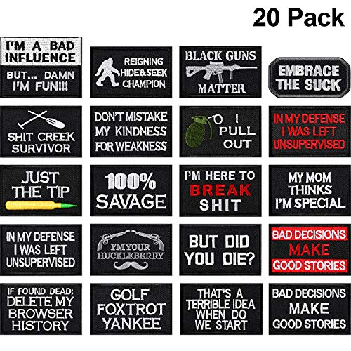 20 Pieces Tactical Embroidery Patch Funny Military Patch Full Embroidered Appliques for Caps Bags Vests Military…
