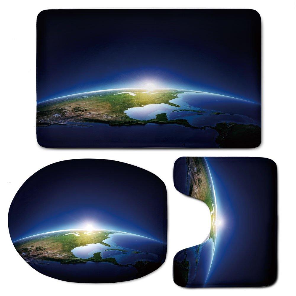 3 Piece Bath Mat Rug Set,Earth,Bathroom Non-Slip Floor Mat,Earth-Sunrise-over-Cloudless-North-America-Atmosphere-Space-Solar-System-Decorative,Pedestal Rug + Lid Toilet Cover + Bath Mat,Blue-Dark-Blue