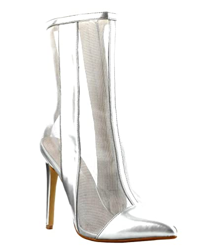 0415b501371 Amazon.com | CAPE ROBBIN Silver Mesh Ankle Boots Pointy Toe Heels Women's  Shoes | Boots