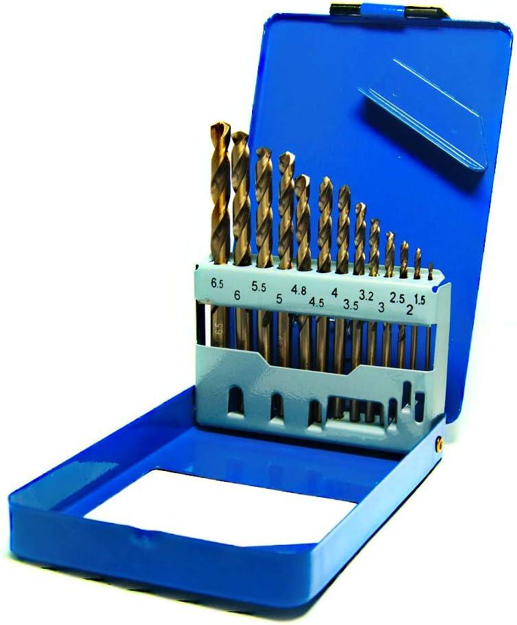 S&R Juego de brocas HSS COBALTO Rectificadas para metal 1,5-6,5 mm, 13 unidades, DIN 338, acero aleado con cobalto, corte tipo C según DIN 1412, 135 ° Caja metálica
