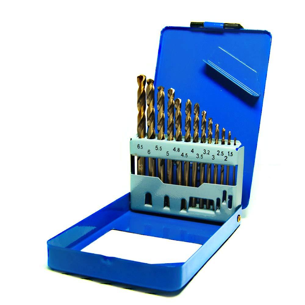 S&R HSS COBALTO - Juego de brocas, Rectificadas para metal, DIN 338, acero