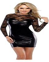 Sexy noire en faux cuir PU Femmes Erotique robe de dentelle Club Wear Lingerie Fétiche