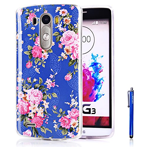 LG G3 Case,Vfunn Premium TPU Gel Scratch Resistant Slim Fit Funny Cartoon Case Cover for LG G3 with 1 Screen Protector 1 Clean Cloth Cleaner 1 Stylus Pen (LG G3) (Rose Blue)