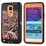 MOONCASE Galaxy Note 4 Case, [Realtree Camo Series] 3 Layers Heavy Duty Defender Hybrid Soft TPU +PC Bumper Triple Shockproof Drop Resistance Protective Case Cover for Samsung Galaxy Note 4 -Orange Grass