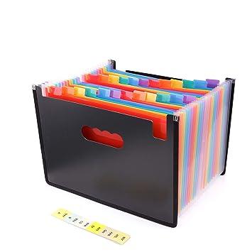 Bebester - Archivador organizador de 24 bolsillos, A4, carpeta de acordeón, tamaño grande