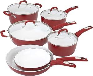 Bialetti 7602 Aeternum Ceramic Nonstick Cookware Set, 10 Piece, Red/White